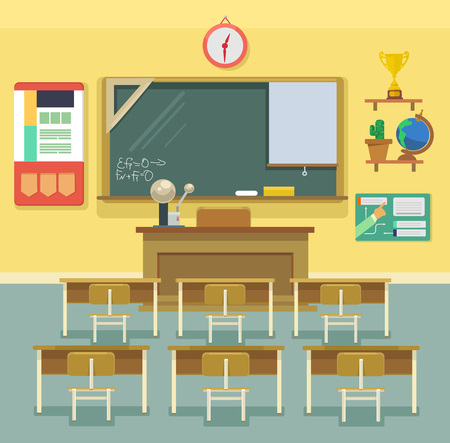 Illustration pour School classroom. Vector flat illustration - image libre de droit