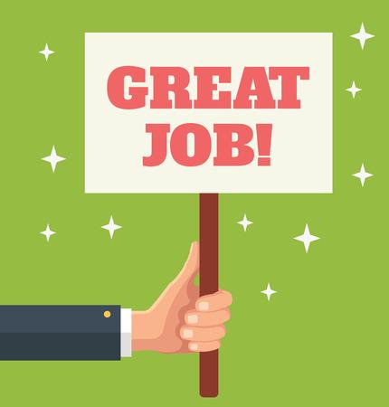 Illustration for Great Job. Vector flat banner illustration - Royalty Free Image