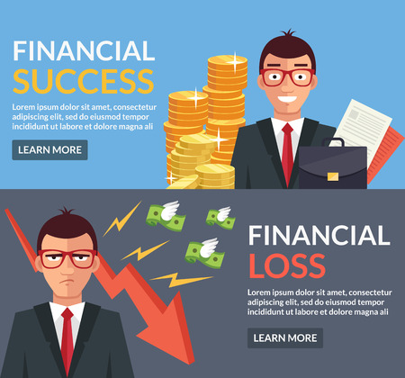 Financial success, financial loss flat illustration