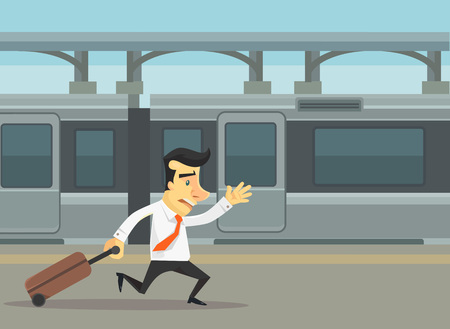 Businessmen running and missed train. Vector flat cartoon illustration