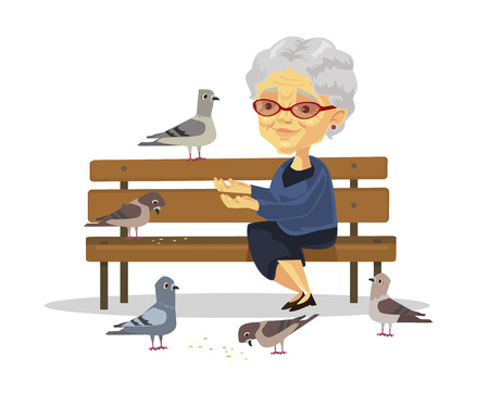 Foto de Old woman feeding birds. Vector flat illustration - Imagen libre de derechos