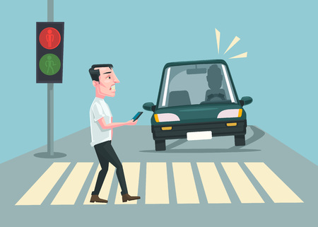 Pedestrian accident. Vector flat cartoon illustration