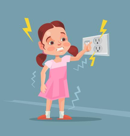 Illustration pour Little girl touching covered socket. Vector flat cartoon illustration - image libre de droit