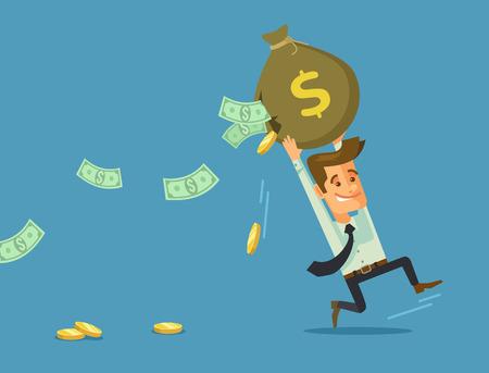 Illustration for Businessman losing money. Vector flat cartoon illustration - Royalty Free Image