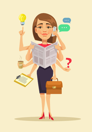 Illustration for Multitasking woman. Vector flat cartoon illustration - Royalty Free Image