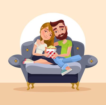 Couple at home sitting on sofa. Vector flat cartoon illustration