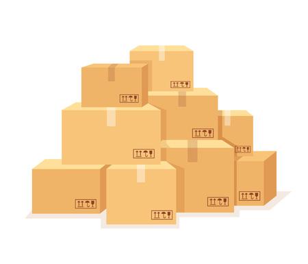 Illustration pour Carton boxes set. Vector flat cartoon illustration - image libre de droit