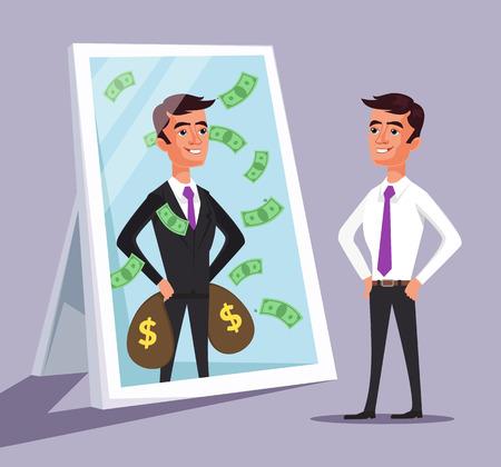 Illustration pour Business man see himself being successful. Vector flat cartoon illustration - image libre de droit