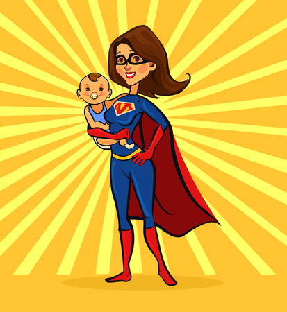 Illustration pour Super mom. Vector flat cartoon illustration - image libre de droit