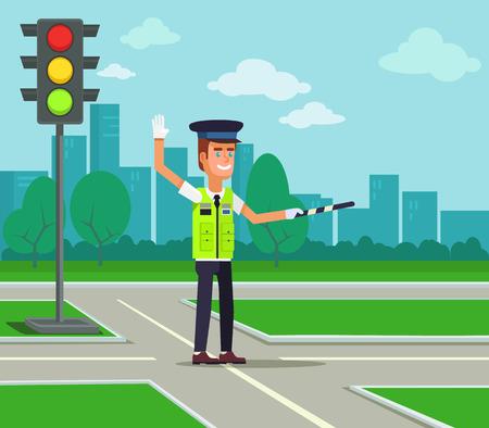 Illustration pour Traffic policeman. Vector flat cartoon illustration - image libre de droit