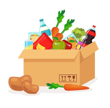 Illustration pour Food in box. Food delivery. Vector flat cartoon illustration - image libre de droit
