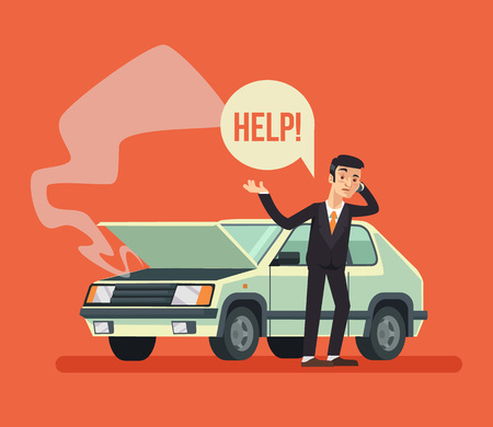 Illustration pour Man standing near broken car and calling. Vector flat cartoon illustration - image libre de droit