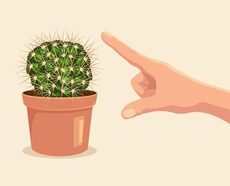 Hand touch cactus. Vector flat cartoon illustration