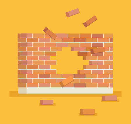 Illustration for Breaking brick wall with hole. Vector flat cartoon illustration - Royalty Free Image