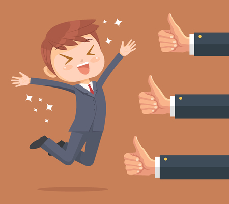 Illustration pour Happy businessman character and many hands with thumbs up. Vector flat cartoon illustration - image libre de droit
