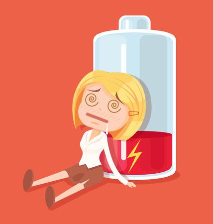 Business woman character no energy. Vector flat cartoon illustration