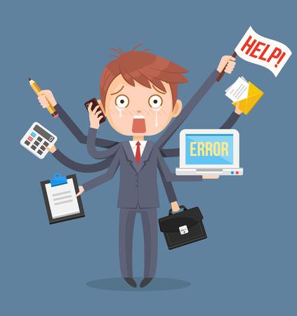 Illustration pour Busy businessmen character. Multitasking hard work. Vector flat cartoon illustration - image libre de droit