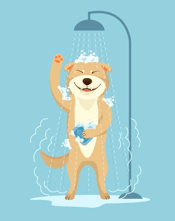 Illustration for Dog take shower. Dog grooming. Dog service. Vector flat cartoon illustration - Royalty Free Image