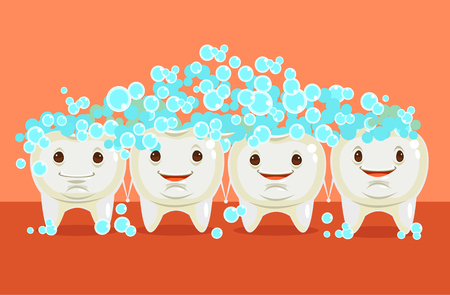 Teeth cleaning. Happy teeth character. Vector flat cartoon illustration
