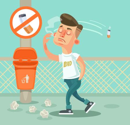 Bad boy character throw garbage. flat cartoon illustration