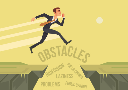 Businessman character jumps over problems. New start up project. flat cartoon illustration