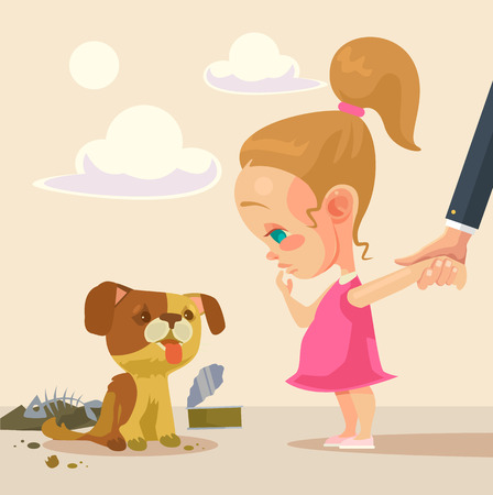 Little girl and homeless dog. flat cartoon illustration