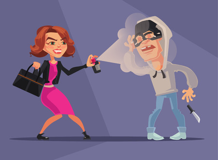 Woman character protected herself from robbers. Vector flat cartoon illustration
