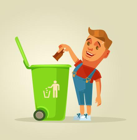 Illustration pour Boy character throws garbage in trash. Vector flat cartoon illustration - image libre de droit
