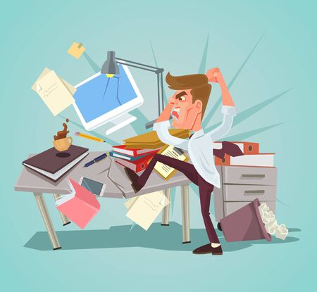 Illustration pour Angry office worker character crash workplace. Vector flat cartoon illustration - image libre de droit