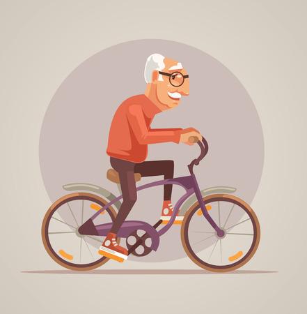 Grandfather character ride bike. Vector flat cartoon illustration