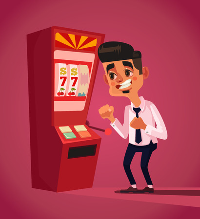 Man character play in slot machine. Vector flat cartoon illustration
