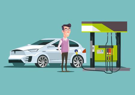 Illustration pour Gas station and happy smiling. Vector flat cartoon illustration - image libre de droit