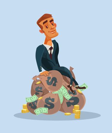 Illustration pour Happy smiling businessman sitting on money bags. - image libre de droit