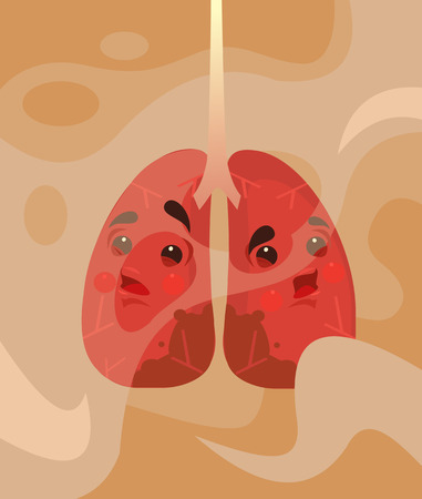 Sick and tired human lungs in smoke steam. Vector flat cartoon illustration