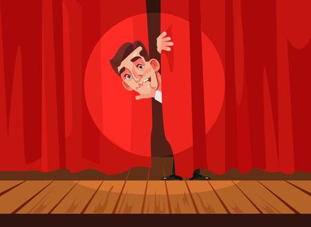 Illustration pour Man afraid of performing on stage, Phobia concept Vector flat cartoon illustration - image libre de droit