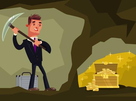 Businessman character looking for hidden treasures Vector flat cartoon illustration