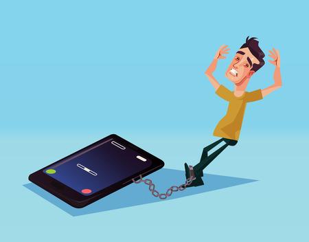 Illustration pour Mobile phone dependence. Vector cartoon illustration - image libre de droit