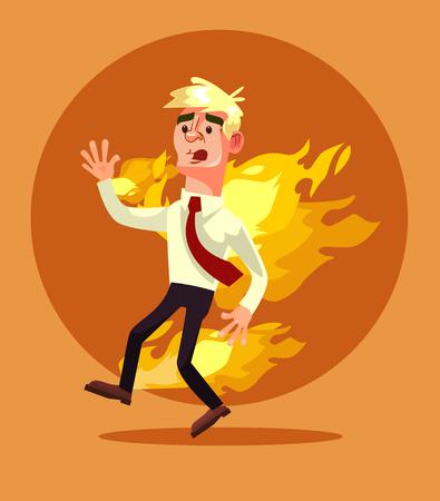Man burn. Vector flat cartoon illustration