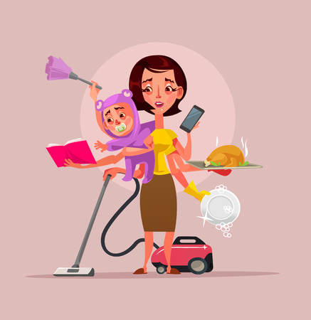 Multitasking super mother character holding baby phone food and cleaning house subjects. Vector flat cartoon illustration