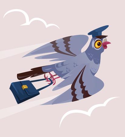 Ilustración de Happy smiling dove pigeon bird postman courier character Delivery communication postage service transportation email. Vector flat cartoon isolated illustration graphic design - Imagen libre de derechos