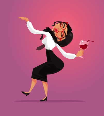 Ilustración de Happy smiling funny drunk woman office worker manager collar employee having fun and drink alcohol wine. Corporate business party and alcoholism bad habit addiction concept. Vector flat cartoon graphic design isolated illustration - Imagen libre de derechos