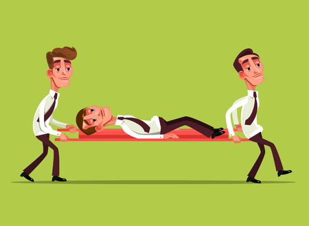 Illustration pour Tired sad businessman office worker characters on stretcher and colleague carry him concept Vector flat cartoon graphic design isolated illustration - image libre de droit