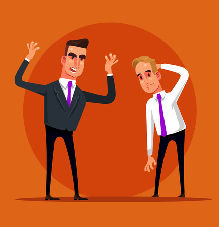 Illustration pour Angry screaming. Fail work dismissal. Vector flat graphic design cartoon isolated illustration - image libre de droit