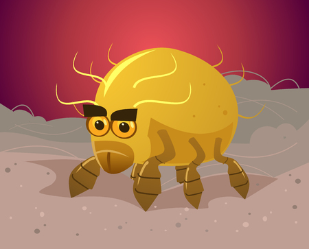 Angry danger flea bug insect parasite sitting on owner host skin hair wool and bite. Parasites problem flat cartoon illustration graphic design concept element
