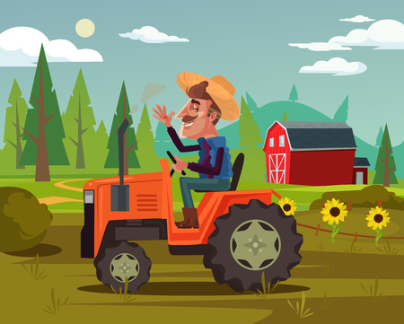 Illustration pour Happy smiling farmer. Agriculture farming country side flat cartoon graphic design concept illustration - image libre de droit