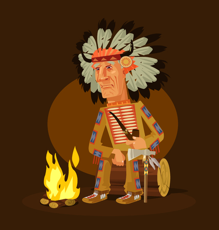 Illustration pour Old american indian chief character sitting near a fireplace and smoking pipe. Vector flat cartoon illustration - image libre de droit