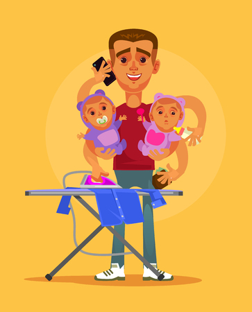 Illustration pour Happy smiling super hero multitasking housewife husband character doing all home. Parenting and domestic family life style concept vector cartoon illustration - image libre de droit