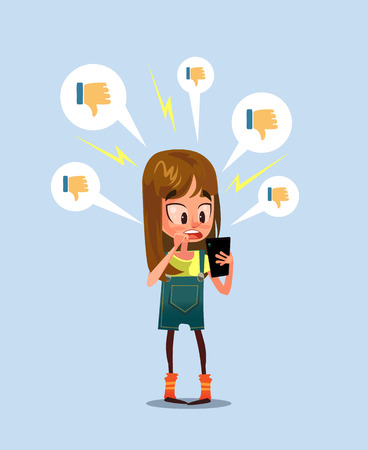 Illustration pour Woman girl character receive bad comments. Social media communication network. Vector design graphic flat cartoon illustration - image libre de droit