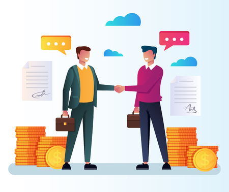 Illustration pour Two business people. Financial strategy infographics partnership cooperation investment. Vector flat cartoon isolated graphic design illustration - image libre de droit