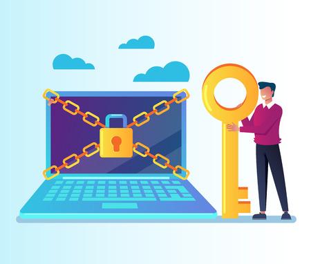 Illustration pour Unlock your laptop pc personal data information. Data protection online login password concept. Vector flat cartoon graphic design isolated illustration - image libre de droit